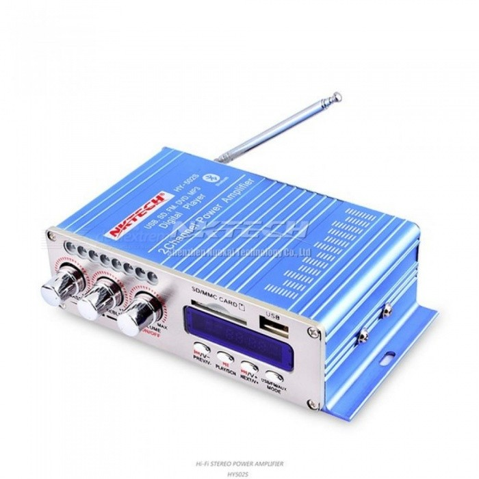 HY502S Bluetooth Car Power Amplifier Stereo Sound Mode HiFi 2 Channel Mini  FM Audio + MP3 Speaker Music Player for iPod HY-502S Sky Blue