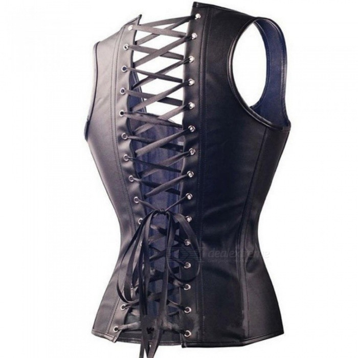 3d1730bfabf ... Sexy Black Faux Leather Buckle Overbust Waistcoat Corset Top Steampunk  women Bustier Cincher Corselet CO31 S ...
