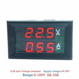 Mini Digital Voltmeter Ammeter DC 100V 10A Panel Amp Volt Voltage Current Meter Tester 0.28 for 1 Pieces red and red