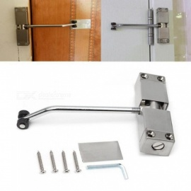 1Pieces Automatic Mounted Spring Door Closer Stainless Steel Adjustable Surface Door Closer 160x96x20mm Silver
