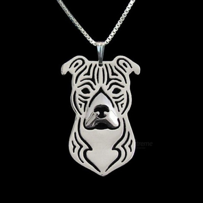 Gold   silver 1PCS cartoon Boho Chic Alloy American Staffordshire Terrier  necklace fashion pit bull pendant b6025526fe5d