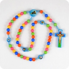 Cartoon JESUS Cross Pendant Necklace Rosary Beads Children Kid Girls Catholic Fashion Religious jewelry Cross