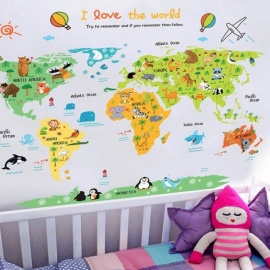 Cartoon World Map PVC DIY Self Adhesive Vinyl Wall Stickers Bedroom Home Decor for Children Room Decoration Art Wall Decal Mural World Map