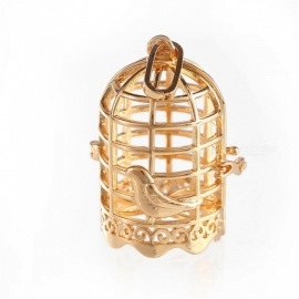 Rhinestone Harmony Bird Cage Ball Caller Pendant For Pregnant Women Aromatherapy Essential Oil Locket Jewelry Black Cage