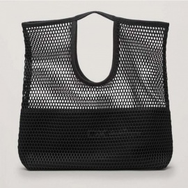 Fashion Hollow Mesh Design Women Handbag Holiday Tote Lady Beach Bags Net Simple Shopping Baby Party Funny Bucket Bag Black