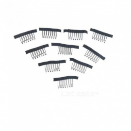 Black Wig Combs With Polyster Cloth 7 Teeth Wig Accessories Hair Wig Combs Wholesale Lace Wig Comb Clips 50 PCS Black 30mm length