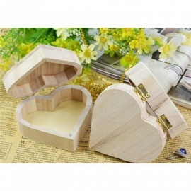 Storage Box Heart Shape Wood Box Jewelry Box Wedding Gift Makeup Cosmetic Earrings Ring Desk Rangement Make Up Wooden Organizer Wood