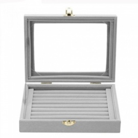 8 Booths Velvet Carrying Jewelry Case with Glass Cover Jewelry Ring Display Box Tray Holder Storage Box Organizer Gray Gray