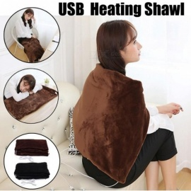 USB Powered Soft Heated Shawl 5V Winter Car Home Electric Warming Heating Blanket Pad Mobile Heating Shawl 45x80cm Black