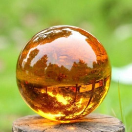 Crystal Magic Ball Asian Natural Quartz Amber Crystal Healing Quotes Ball with Base Sphere Home Decor 80mm