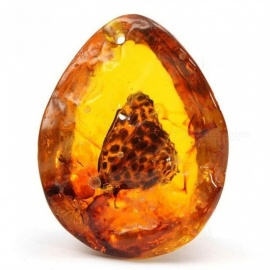 Amber Butterfly Insects Stone Pendant Necklace Gemstone for DIY Jewellery Pendant Necklace Crafts 5*4 cm 5*4cm