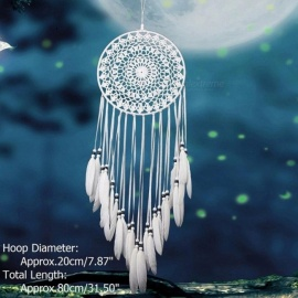 White Lace Flower Dreamcatcher Wind Chimes Indian Style Feather Pendant Dream Catcher Creative Car Hanging Decoration Purple