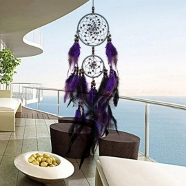 Feather Crafts Purple Dream Catcher Wind Chimes Handmade Dreamcatcher Net With Feather Beads for Wall Hanging Car Home Decor Purple