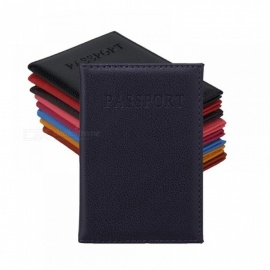 Candy Color PU Passport Holder ID Credit Card Ticket Travel Passport Cover Folder Bag Protective Holder Black