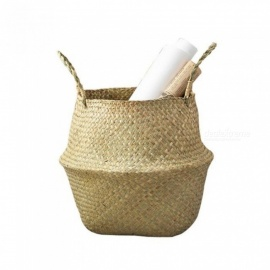 Natural Woven Seagrass Belly Storage Basket Flower Pot Folding Basket Weaving Dirty Garment Basket Fruit Basket S