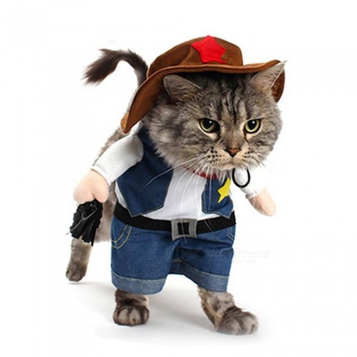 Vestiti Halloween.Funny Pet Costume Cat Dog Cowboy Cosplay Suit Halloween Christmas Uniform Clothes Puppy Hat Suit Dressing Up Party Clothing S Cowboy
