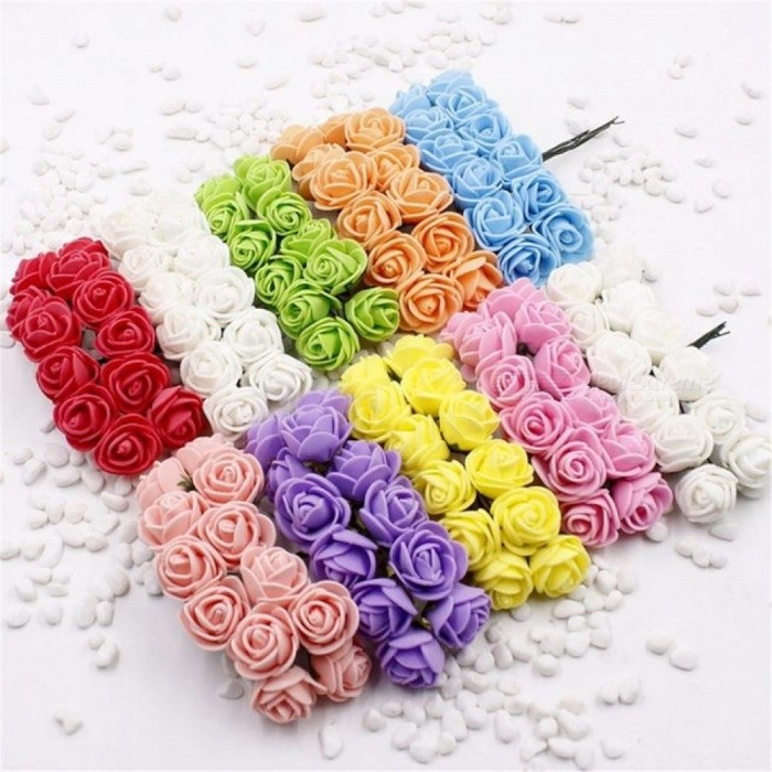 12 pcs mini foam rose artificial flowers for home wedding car 12 pcs mini foam rose artificial flowers for home wedding car decoration diy wreath decorative bridal junglespirit Choice Image
