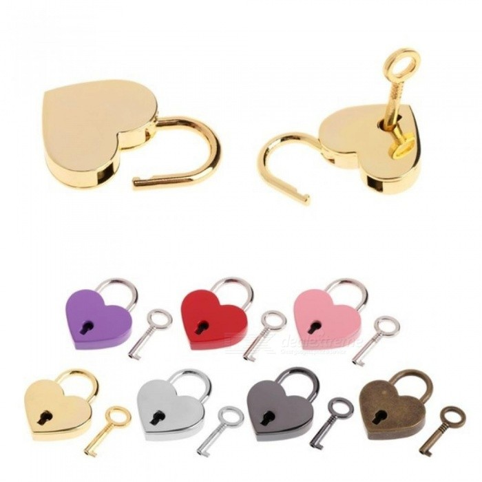 2e98ce343926 Heart Shape Vintage Old Antique Style Mini Archaize Padlocks Key Lock With  Key Multi Colors Available For Option Red
