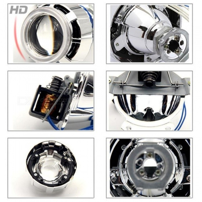 2 0 Motorcycle Headlight Lens H1 Bulb CCFL Twin Angel Eyes Halo Rings Xenon  Halogen Projector for Auto-Hi/Lo Beam H4 H7 White Blue