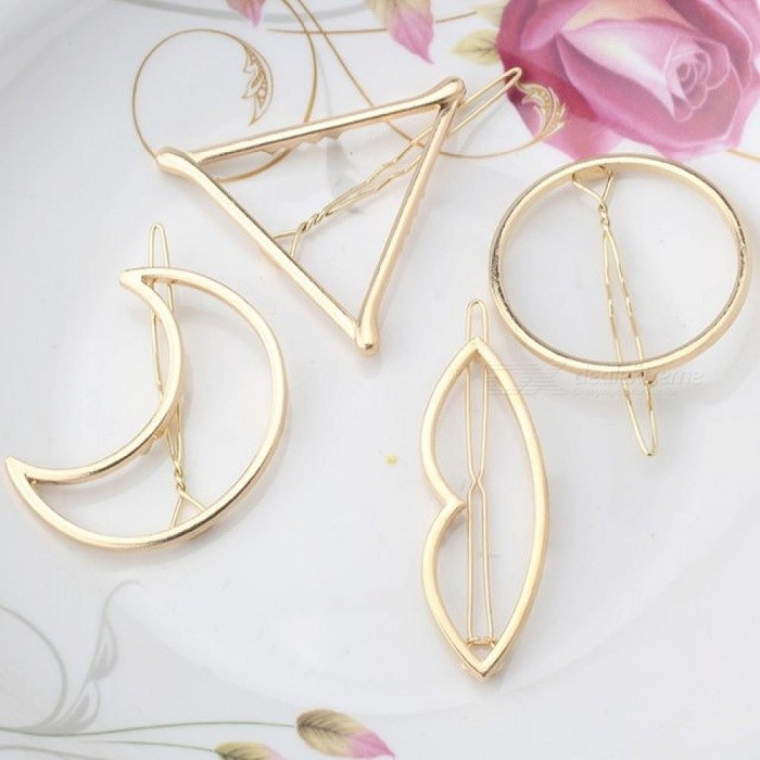Fashion Woman Hair Accessories Triangle Hair Clip Pin Metal Geometric Alloy Hairband Moon Circle Hair Grip Barrette Girls Holder