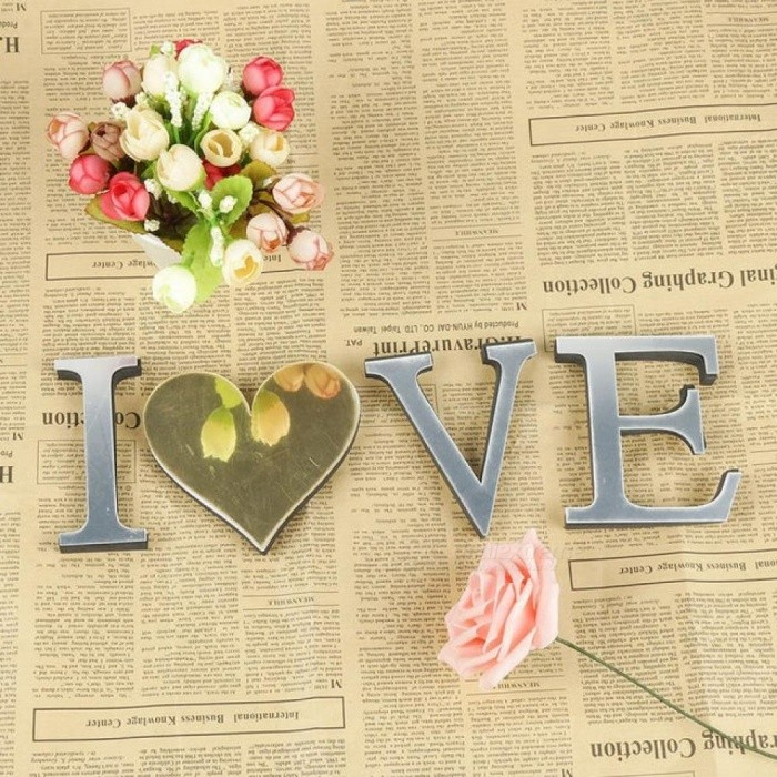 Wedding Love Letters English 3D Mirror Wall Stickers Alphabet Home ...