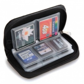 SD SDHC MMC CF Micro SD Memory Card Storage Carrying Pouch Case Holder Wallet 22 Cards Holder Slots With Black Color Black