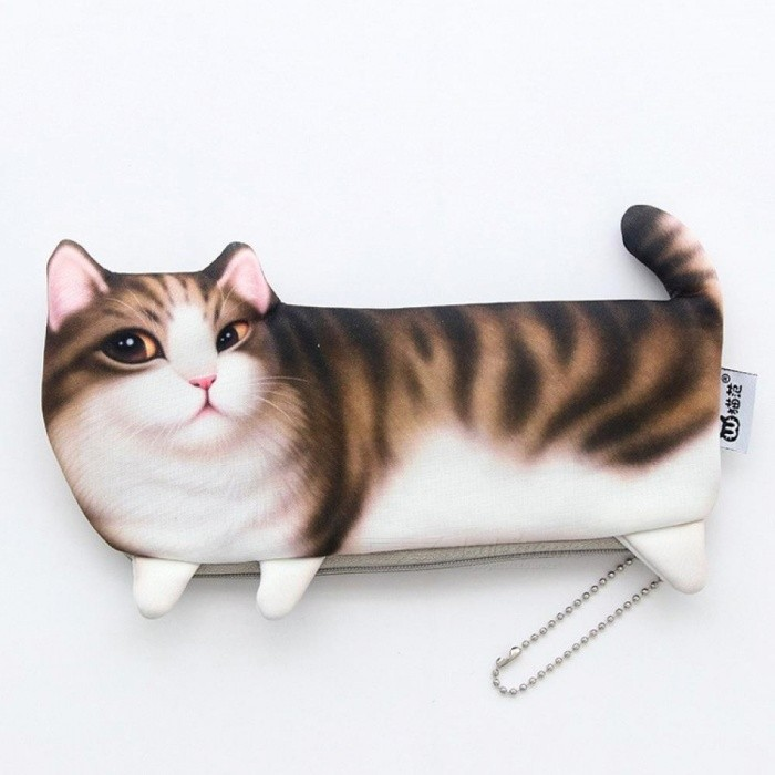 Home Office Storage Kawaii Pencil Case Novelty Cat Face Flannel Home Office Supplies Stationery Gift Cartoon Cute Pencil Box Pencil Bag