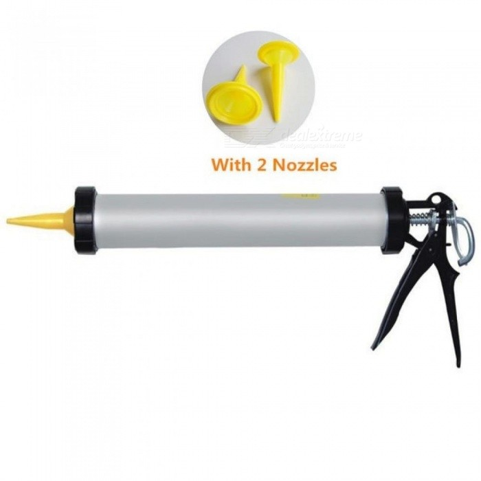 Big Arrow Aluminum Casing Caulking Gun Glass Glue Gun Glue Gun Silicone Gun with 2PC Nozzles Silver+Yellow Color