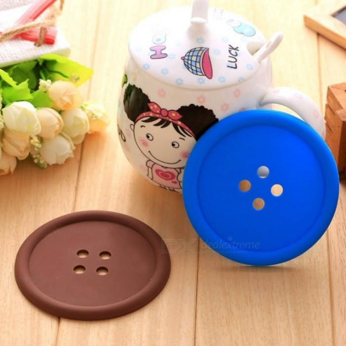 Buttons Cup Pad Tableware Silicone Cup Pad Coaster Placemats Cup Mat Dining Table Coffee Heat Resistant Kitchen Tool 5pcs/lot