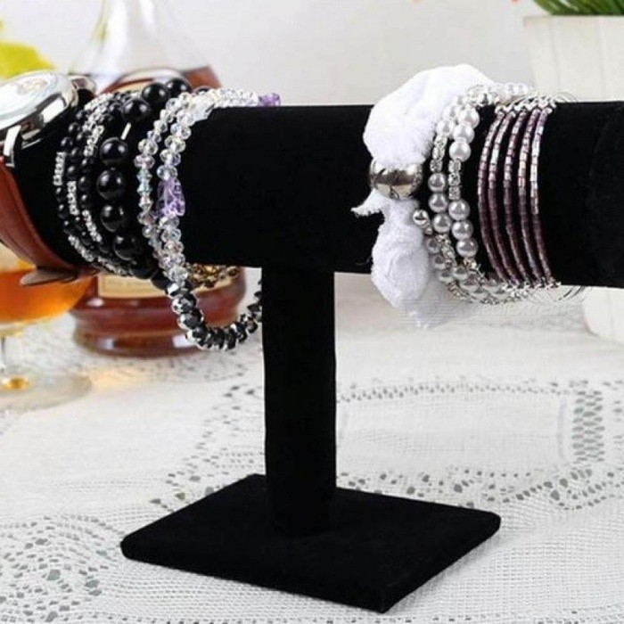 Rose Red Black Velvet Bracelet Chain Watch T Bar Rack Jewelry Hard Display