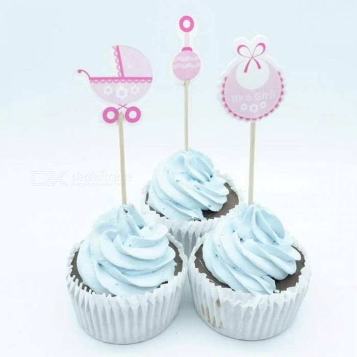 18pcs Baby Shower Cupcake Toppers Pick Baby Shower Favors Party