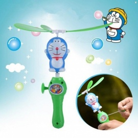 Amazing Children Outdoor Toy Hand Push Plastic Dragonfly Flying Copter doraemon arrows helicopter fly arrow umbrella Christmas Green+Blue