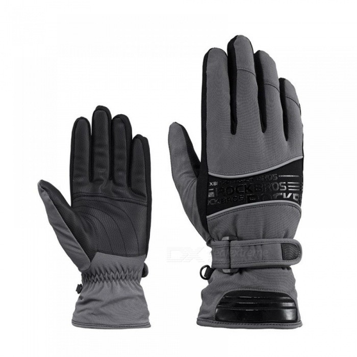 30 Degree Waterproof Ski Gloves Windproof Snowmobile Snowboard Gloves Snow Sports Handwear Fleece Thermal Skiing Gloves XL/Gray