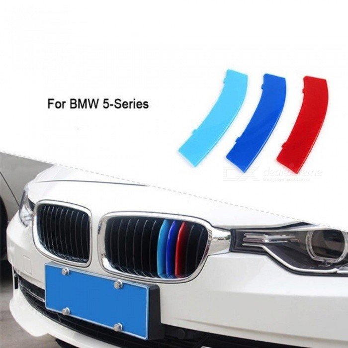 3D Car Front Grille Trim Sport Strips Cover Stickers For BMW E39 E60 F10  F07 G30 5 series GT M Power Accessories 3PCS For 5-Series GT F07