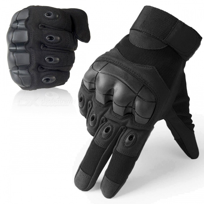 Touch Screen Tactical Gloves Military Army Paintball Shooting Airsoft Combat Anti-Skid Rubber Hard Knuckle Full Finger Gloves XL/Black