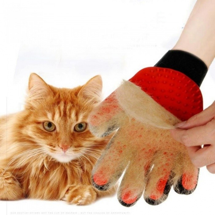 Cat Gloves Hair Comb Pet Bath Brush Dog Massage Pet Grooming Cleaning Supplies Rubber Gloves With Red Color Right