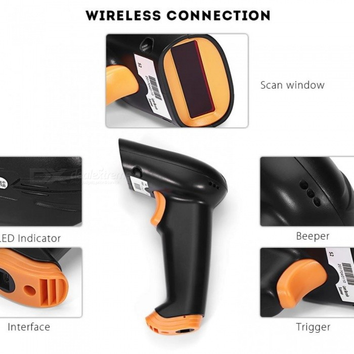 Wireless Barcode Scanner 2.4G 30m Laser Bar Code Reader Wireless/Wired For POS and Inventory  USB 2.4G