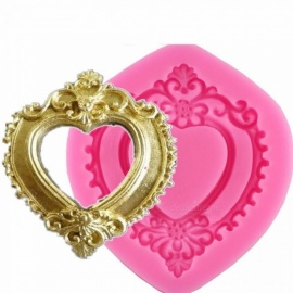 Vintage Love Heart Shape Mirror Frame 3D Silicone Mold Fondant Chocolate Molds Cake Decorating Tools F0730 Pink