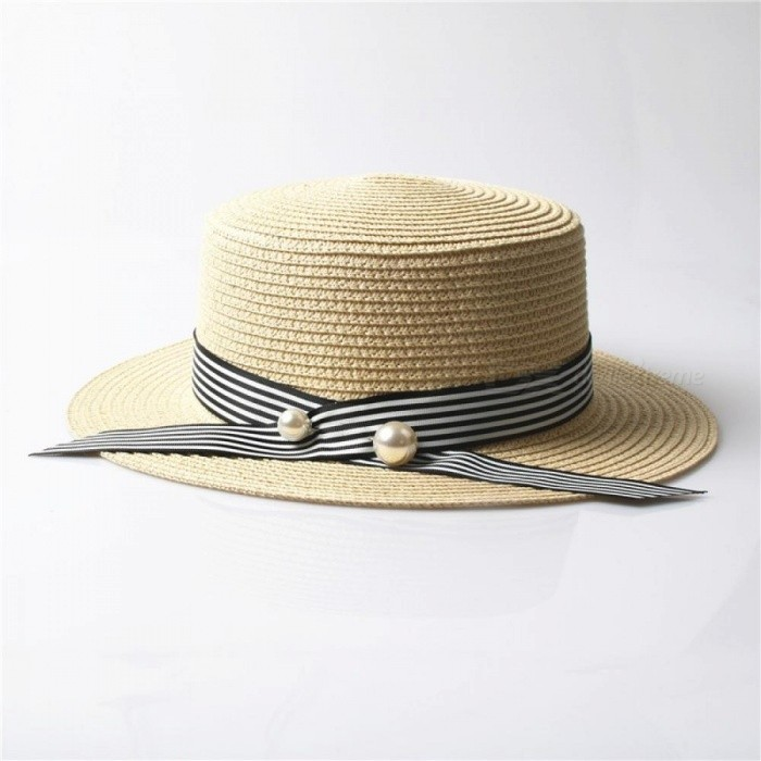 1f95b74fd Lady Boater Sun Caps Ribbon Round Flat Top Straw Beach Hat Panama Hat  Summer Hats For Women Multicolor Optional Beige