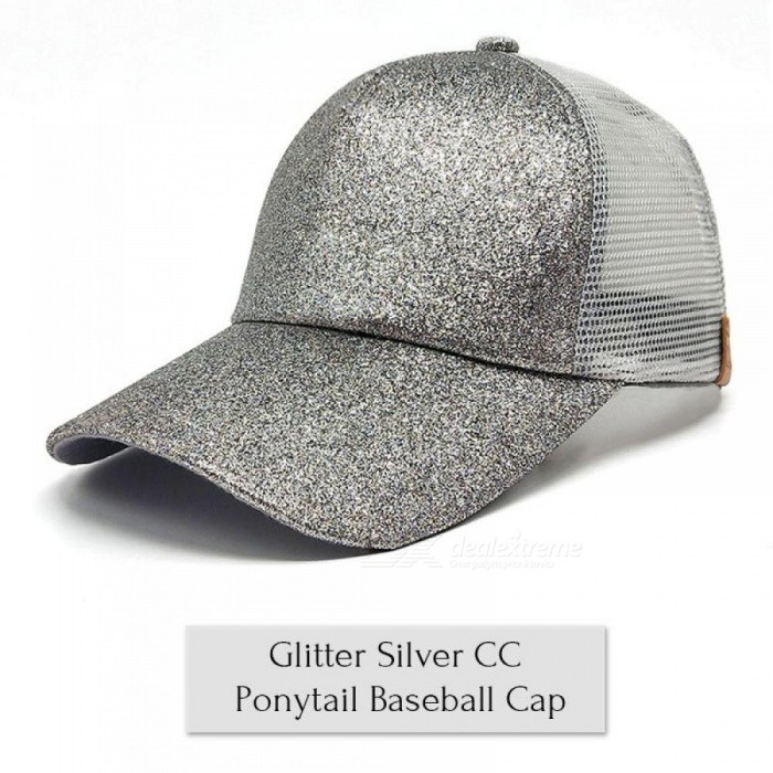 f224a288eb203 ... Glitter Ponytail Baseball Cap Women Messy Bun Baseball Cap Girls  Snapback Caps Summer Sports Mesh Hats ...