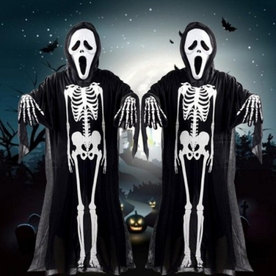 Halloween Costume Skull Skeleton Demon Ghost Cosplay Costumes Adults Children & Kids Carnival Masquerade Dress Robes Scary Mask for adults