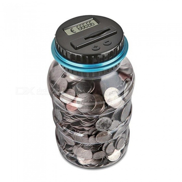 Piggy Bank Counter Coin Electronic Digital LCD Counting Coin Money Saving Box Jar Coins Storage Box For USD EURO GBP Money 1.8L