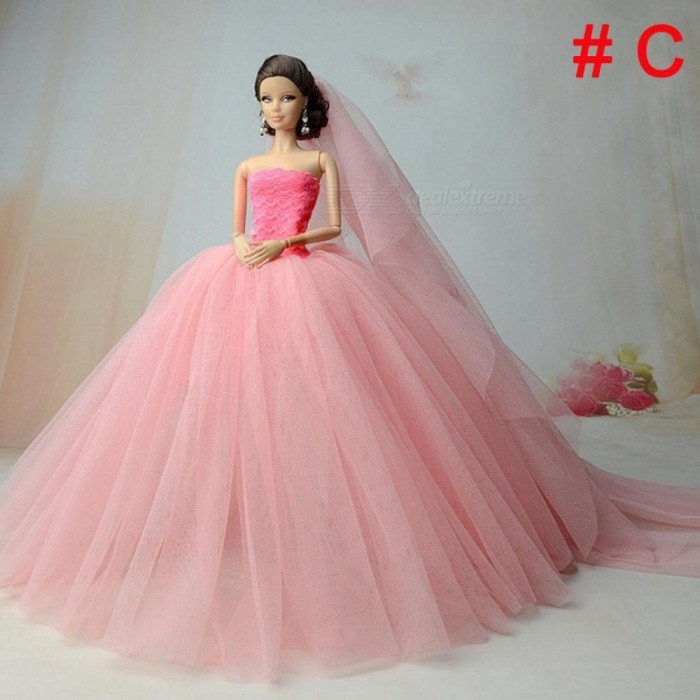 ... Doll Dress High-Quality Handmade Long Tail Evening Gown Clothes Lace Wedding  Dress +Veil ... 3387c1925cdb