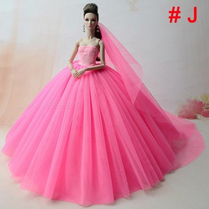 Doll Dress High-Quality Handmade Long Tail Evening Gown Clothes Lace ...