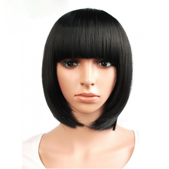 Short Straight Hair Synthetic Black Brown White Blonde 12