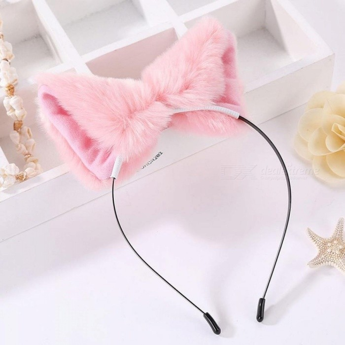 Women And Girls Fashion Fox Plush Cat Ears Headbands Hair Accessories 9*9cm Size With Multi Colors Optional