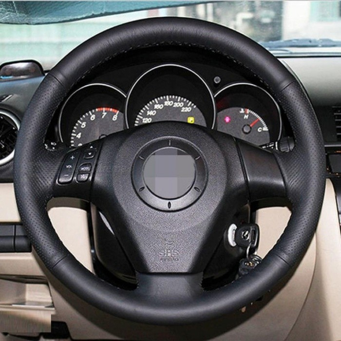 Black Artificial Leather Car Steering Wheel Cover For Old Mazda 3 Mazda 5 Mazda 6 2003 2009 White And Black Color Optional Black Thread