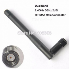 (Pack of 10) 2dBi RP-SMA (Hole) Omni Directional 2.4Ghz 5Ghz Wifi Wireless Signal Boosting Antenna    Black