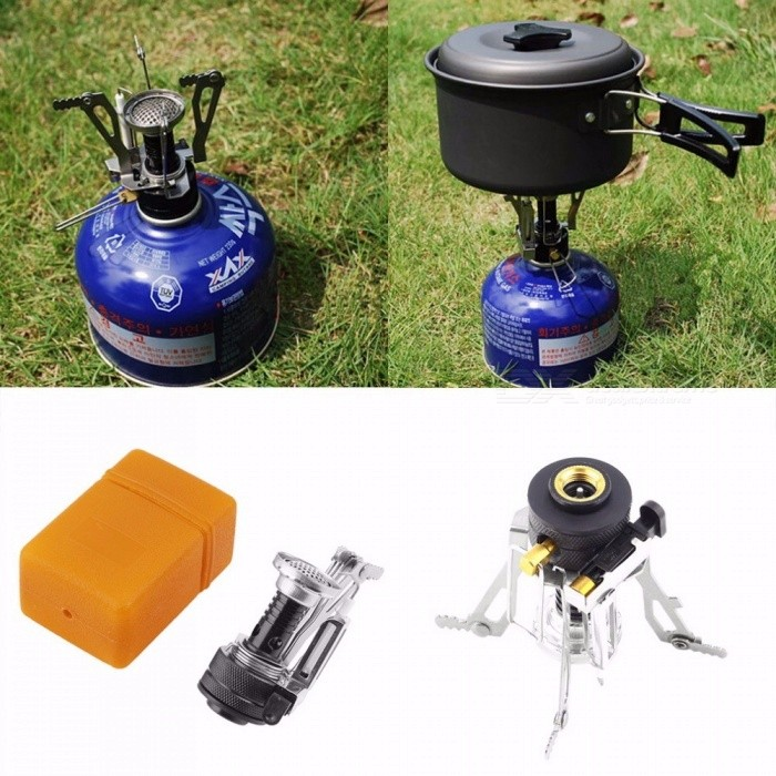 Outdoor Picnic Gas Stove Burners Foldable Mini Steel Case Portable Cooking Tools Burning Camping Equipment Survival Furnace