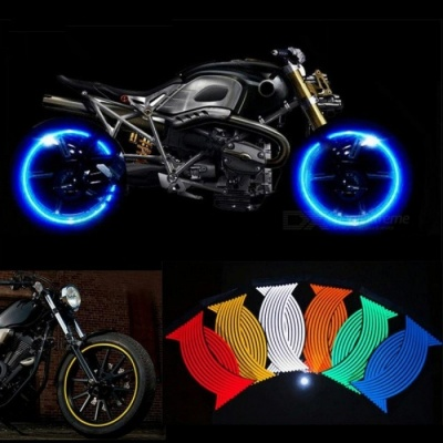 16 Pcs Strips Motorcycle Wheel Sticker Reflective Decals Rim Tape Bike Car Styling for Yamaha Honda Suzuki Harley BMW Yellow